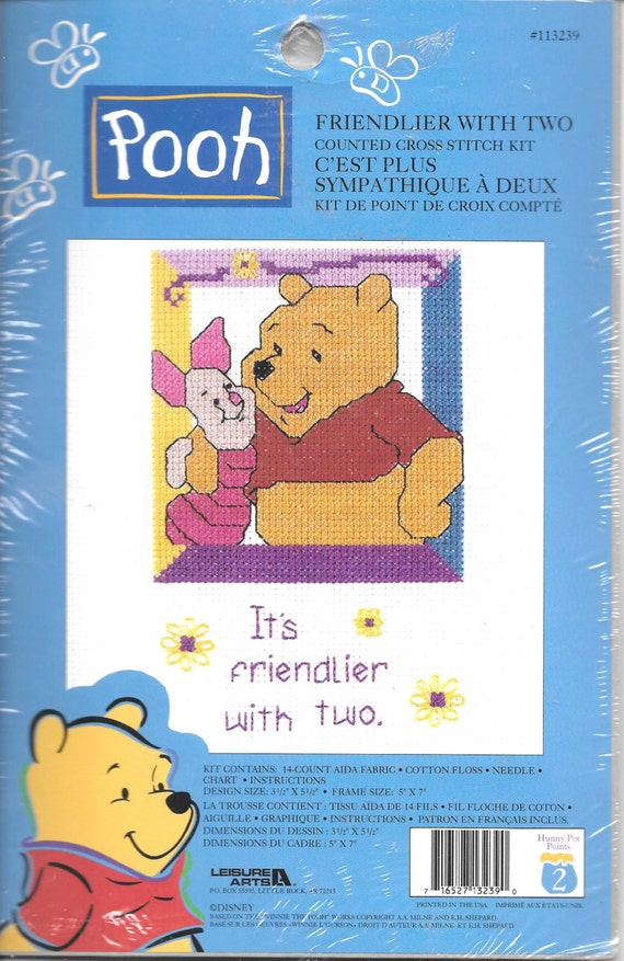 Leisure Arts Licensed Disney Pooh Friendlier With Two Counted Cross Stitch Kit New In Package Charted Design Needlework