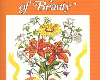 Gloria and Pat Bouquets of Beauty Book 13 Counted Cross Stitch Pattern Charted Designs Orange and Yellow Floral Design Rosemary Drysdale