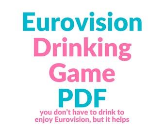 Eurovision Drinking Game Printable Digital Download | ABBA, Dana International, Bucks Fizz, Conchita Wurst | Party Game