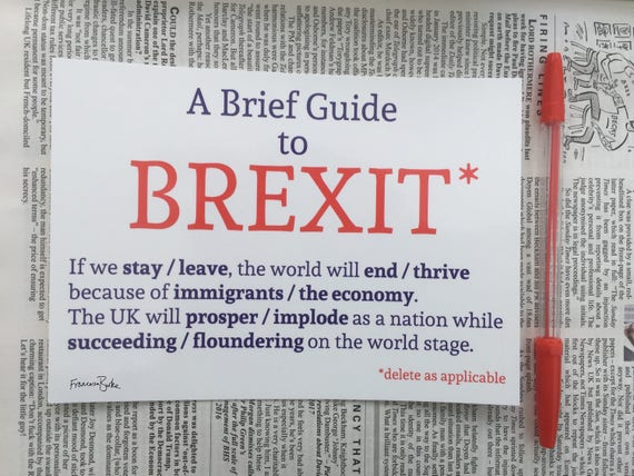 A Brief Guide To Brexit European Union Referendum Poster Print Etsy