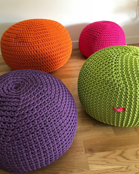 Astounding Purple Stuffed Pouf Ottoman Outdoor Cushion Handmade With Crochet Rope Unique Ts Uwap Interior Chair Design Uwaporg