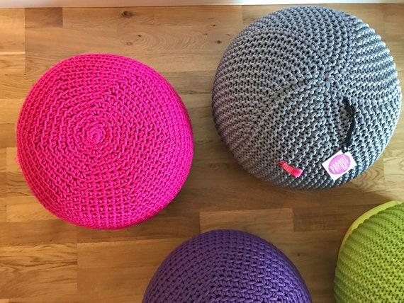 Pink Round Ottoman Pouf Ottoman Knit Pouf Bean Bag Chair