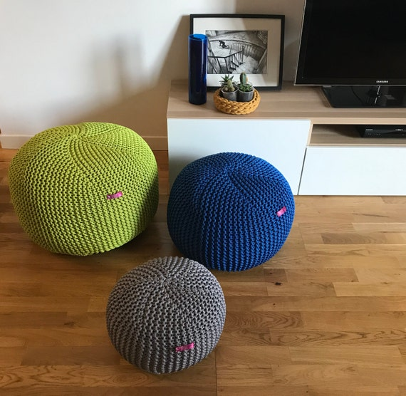 Groovy Outdoor Knit Pouf Ottoman Cobalt Blue Pouf Handmade Footstool Cover Made In Italy Pdpeps Interior Chair Design Pdpepsorg