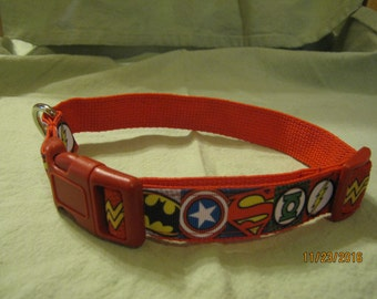 Adjustable Dog Collar, Handmade, SUPER HERO'S Design,  Choose S ~ M ~ L / XL