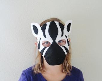 Zebra Felt Mask//Free Shipping//Ready to Ship