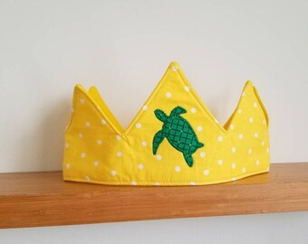 Kids Sea Turtle Fabric Crown- Birthday// Holiday// Gift- FREE SHIPPING!