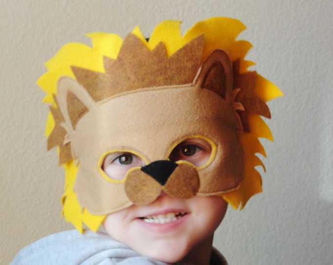 Featured listing image: Kids Felt Lion Animal Mask