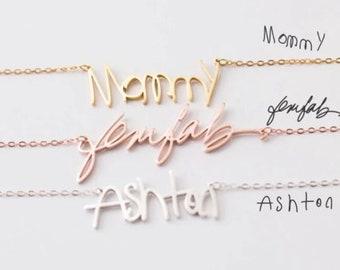 Women Custom Name Pendant Chain Customized Handwrite Signature Necklace