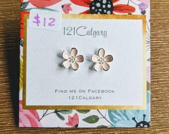 Pink flower earrings in Sterling silver