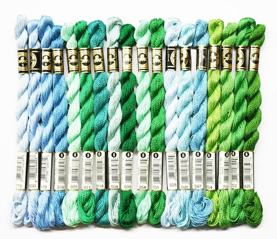 Cotton Box of 12 Skeins  Color 597 Turquoise Pearl DMC Size 3 Perle