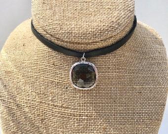 Black leather choker with smoky gray quartz bezel