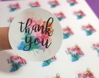 Watercolor Thank You Stickers - Small Business Packaging - 1.5 inch Stickers - Set of 30 - Envelope Stickers