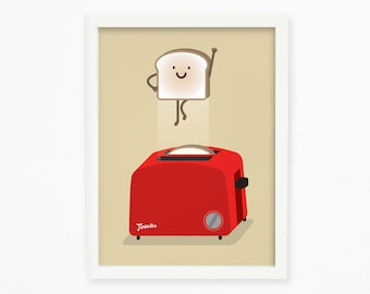 illustration of bread jumping out of toaster Super bread printable wall art/ poster