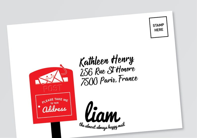 2-piece Liam the happy mail /'Letter box-please take me to this address/' rubber stamp *FREE SHIPPING