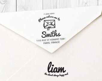 Liam custom return address rubber stamp - FREE SHIPPING WORLDWIDE*