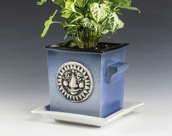 Planter- Flower Pot- Hand made Porcelain- one of a kind- Feathered Blue Glazes.