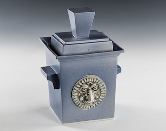 Cookie Jar Box Shape- Medallion face detail- Store your cookies or Tea Bags in style with an original- Rectangular Cookie Jar- Hand Crafted