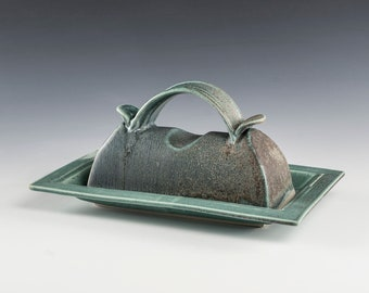 Butter Dish Large - Holds 1-1/2 sticks of butter- cascading Turquoise Glazes- hand-made Butter Dish- Unique ceramic designs