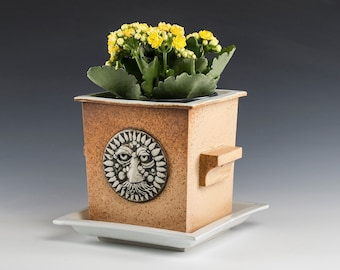 Planter- Flower Pot- Hand made Porcelain- one of a kind- Beautiful, Speckled rust-toned Glazes. Unique face medallion. Only one available.
