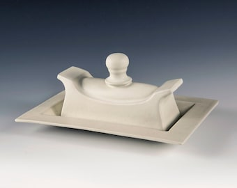 """Butter dish - Satin finish """"Butter Milk"""" Glaze- Hand crafted from original designs- unique glazes. Butter dishes."""