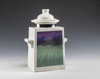 Unique Modern Urn- Hand Crafted Sundown Art Urn- Green Small Cremation Urn- Keepsake Condolence Gift