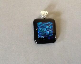 Black /Blue Water Dichroic Glass Fusion Pendant
