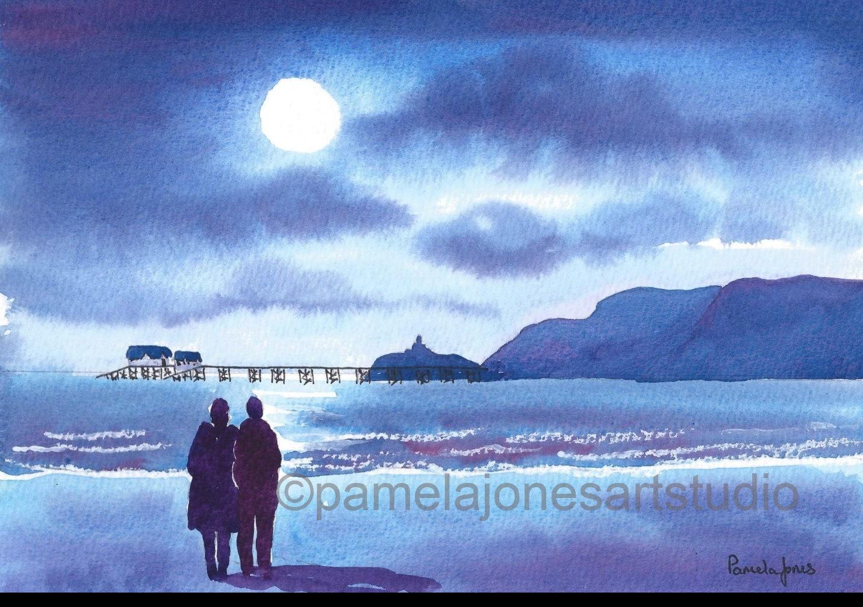Aquarell Druck Spaziergang im Mondschein murmelt Swansea | Etsy