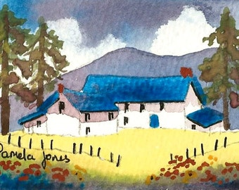 ACEO, Original Watercolour, Hillside Farm, Wales, Miniature Painting, 3.5ins x 2.5ins, Mothers Day,  Gift Idea, Art And Collectibles