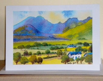 Fine Art Card, Greetings Card, or, Note Card, Moody Mountain, Isle Of Skye, Scotland, art and collectibles, Blank inside, Size A5