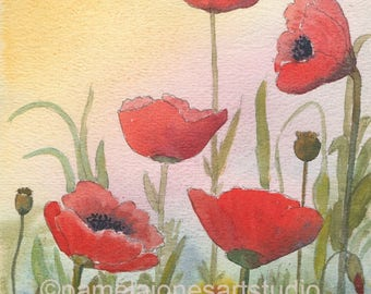 Watercolour Print, Red Poppies, Floral Art, 8ins x 6ins, Birthday Gift, Art and Collectibles, Home and Living