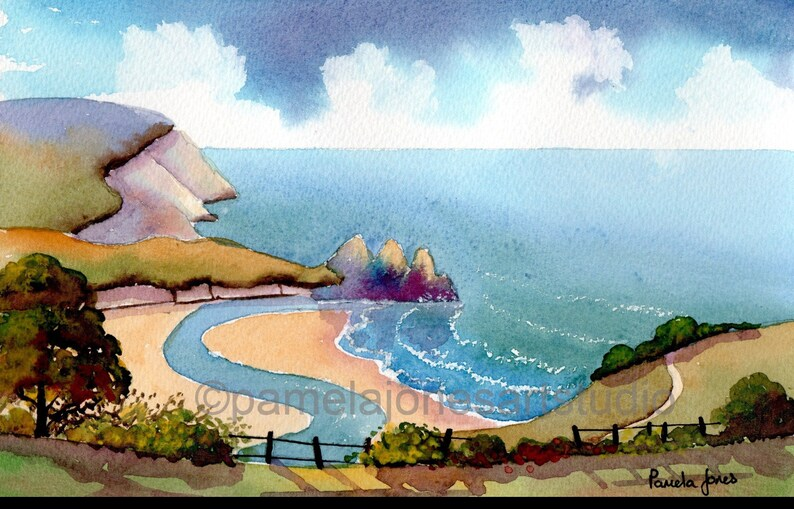 Watercolour Print, Three Cliffs Bay, Gower Peninsula, Wales, 14ins x 11ins,  Gift Idea, Art and Collectables, Home and Living