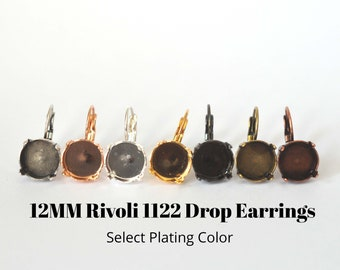 12MM Rivoli Round 1122 Drop / Lever Back Earring Blanks - Select Your Plating Color