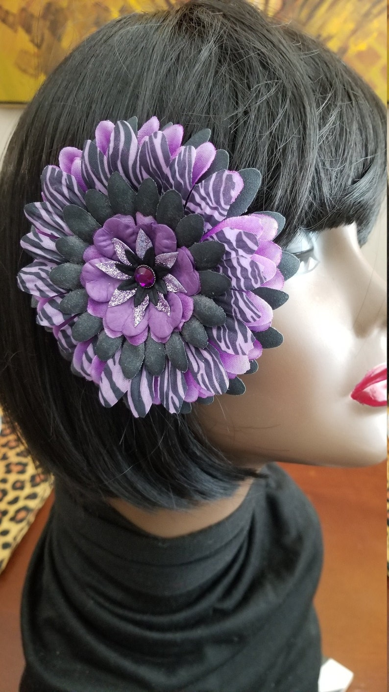 Purple Black Animal Print Glitter Center Flower Hair Clip Handmade Add a bit if color to your hair Adults Teens Ready to Ship!