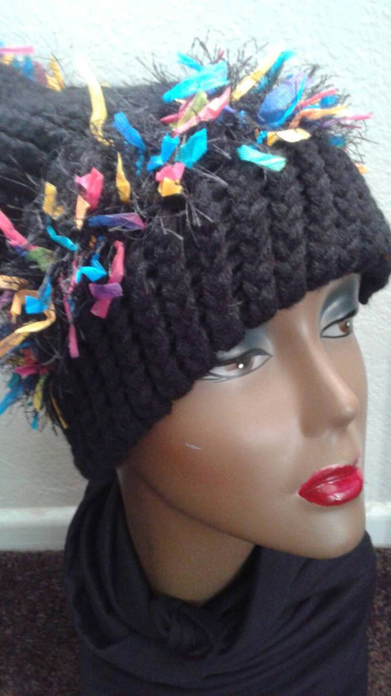 Black Beanie with Colorful Ribbons  Do you like one of a kind items? Then  this winter wear slouchy beanie is just for you! Ready to Ship