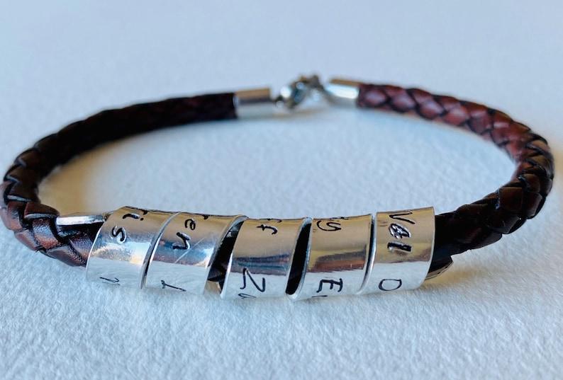 Leather Bracelet Gift for Him Mens Leather Bracelet Leather Bracelet for Men His and Hers Bracelet Personalized Bracelet