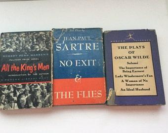 Vintage Hardback Books ,Oscar Wilde, Robert Penn Warren, Jean-Paul Sartre