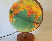 Vintage Replogle Lighted Globe Map Desk Top Raised Relief Library Wood Base 12 quot Mid Century Modern