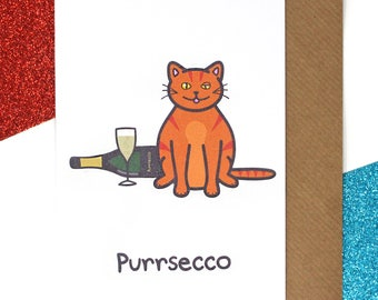 Funny birthday card, cat birthday card, animal card, prosecco card, celebration card, cute card, funny cat card, cats, birthday card for her