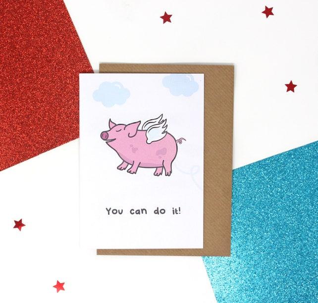 Motivational Pig Card Pig Birthday Card Exams Card Good Etsy