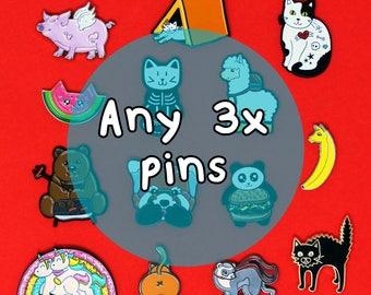 Enamel Pins set of 3, enamel pins, pins, pin set, cute gifts, spoonie gift, funny pins, cute pins, pins and patches, lapel pins, pin game