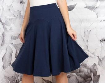 Dark Navy Blue Wool Full Circle skirt Wedding Skirts,TTartans Circle skirt Plus size  skirts Dark Navy Circle skirt Side Pocket skirts
