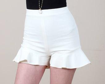 Ivory Shorts, Ruffle Shorts, Frilly Shorts, Cute Shorts, High Waisted Shorts, Girly Shorts, Flared Shorts, Retro Shorts, White Shorts,