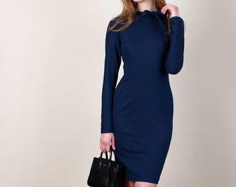 High Neck Bow Dress, Navy Dress, Work Dress, Office Dress, Blue Dress, Long Sleeve Dress, Comfortable Dress, Pencil Dress, Fitted Dress, Bow