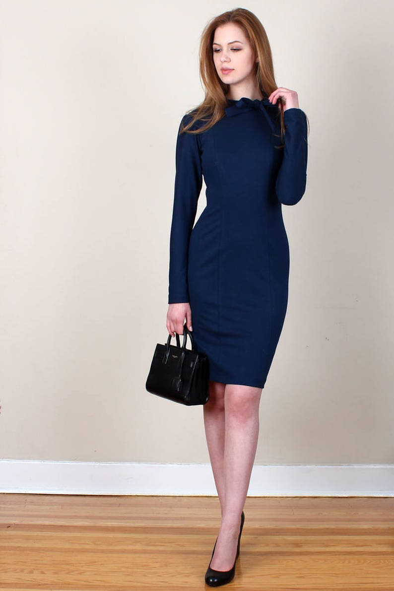 1792e95c0b63 High Neck Bow Dress Navy Dress Work Dress Office Dress