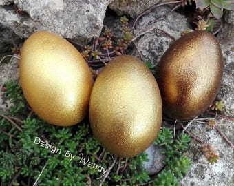 Gold Easter eggs, Waldorf toys natural wooden eggs, Easter egg hunt, shimmering gold eggs Easter basket stuffers for Easter decorations