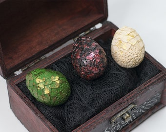Dragon eggs miniature in chest, fantasy doll house decor 1:12, BJD & doll accessories game of geek birthday gift for dragon lover thrones
