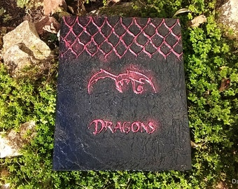 Dragon Book with Dragon Scales, Embossed Journal Cover Altered Large Ring Binder, Enchanted Book of Dragons Black and Metallic Red Cover