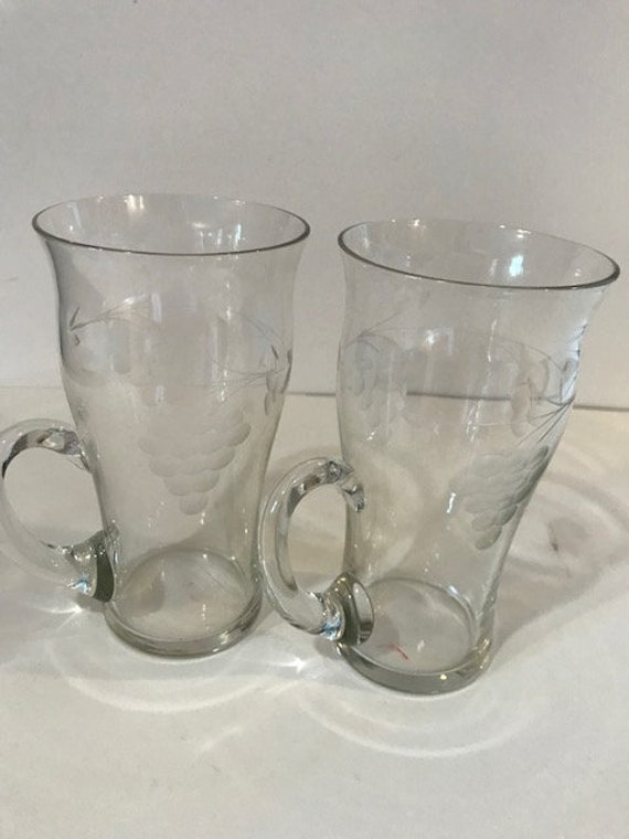 Pair Of Crystal Itish Coffee Glasses With Etched Grapes And Etsy