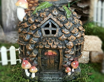 Pinecone Cottage Fairy House - Halloween Fairy Garden Accessories Fairy Home Fall Decoration Miniature House Fairy Garde House Fairy Door
