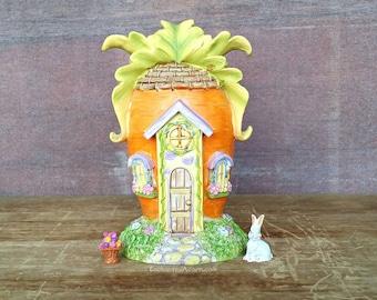 Easter Bunny Carrot Fairy Garden Cottage - Miniature Garden Cottage, Fairy Garden House, Tudor Cottage, Fairytale Cottage, Easter mini